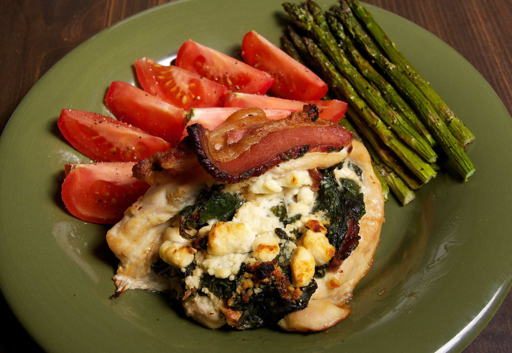 Chicken Stuffed with Spinach, Feta, and Bacon